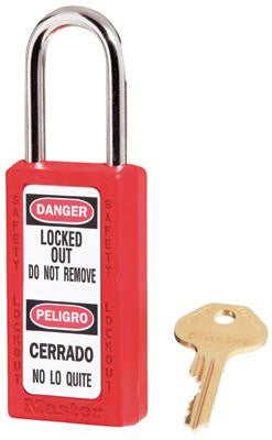"Master Lock Red #411 3"" High Body Safety Lockout Padlock With 1 1/2"" Shackle - Keyed Differently"