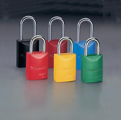 "Master Lock Blue 1 31/32"" High Body High-Visibility Aluminum Padlock - Keyed Differently With 1 1/16"" Shackle"