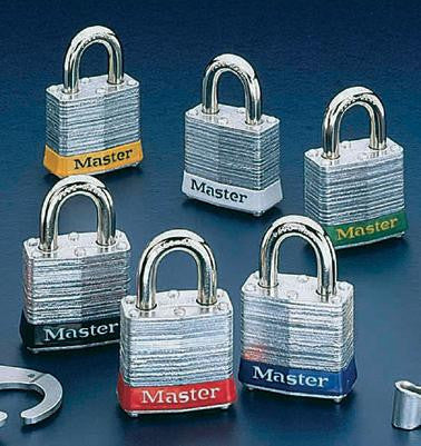 Master Lock White #3 Laminated Steel Pin Tumbler Padlock - Keyed Differently With Key Number Stamped On Bottom Of Lock