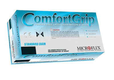 Microflex Medium Natural ComfortGrip 5.1 mil Natural Rubber Latex Ambidextrous Non-Sterile Powder-Free Disposable Gloves With Textured Finish, Beaded Cuffs And Polymer Inner Coating (100 Each Per Box)