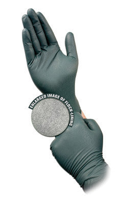 Microflex Large Dark Green Dura Flock 8 mil Nitrile Ambidextrous Powder-Free, Textured Disposable Gloves With Beaded Cuff And Flock Lining
