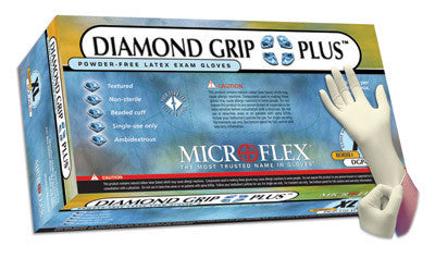 "Microflex Large Natural 9.5"" Diamond Grip Plus 5.1 mil Latex Ambidextrous Non-Sterile Powder-Free Disposable Gloves With Textured Finish And Beaded Cuffs (100 Each Per Box)"