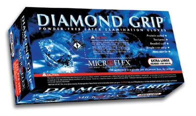 "Microflex Medium Natural 9.8"" Diamond Grip 6.3 mil Latex Ambidextrous Non-Sterile Powder-Free Disposable Gloves With Textured Fingers Finish And Beaded Cuffs (100 Each Per Box)"