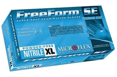 "Microflex X-Large Blue 9.5"" FreeForm SE 3.9 mil Nitrile Ambidextrous Non-Sterile Powder-Free Disposable Gloves With Textured Fingers Finish, Beaded Cuffs And Polymer Inner Coating"