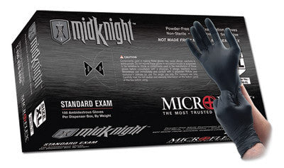 "Microflex 2X Black 9.6"" MidKnight 4.7 mil Nitrile Ambidextrous Non-Sterile Powder-Free Disposable Gloves With Textured Fingers Finish And Beaded Cuffs (100 Each Per Box)"