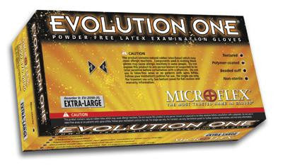 "Microflex Small Natural 10"" Evolution One 5 1/2 mil Latex Ambidextrous Non-Sterile Powder-Free Disposable Gloves With Textured Finish, Beaded Cuffs And Polymer Inner Coating (100 Each Per Box)"