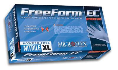 "Microflex Large Blue 11.4"" FreeForm EC 6 mil Nitrile Ambidextrous Non-Sterile Powder-Free Disposable Gloves With Textured Fingers Finish, Extended, Beaded Cuffs And Polymer Inner Coating (50 Each Per Box)"