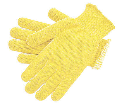 Memphis Large Yellow Kevlar Plaited 7 Gauge Regular Weight Kevlar Cut Resistant Gloves With Knit Wrist And Cotton Lining