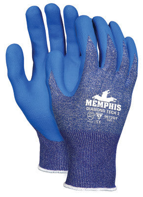Memphis Large Diamond Tech 3 13 Gauge Cut Resistant Blue Bi-Polymer Palm And Finger Coated Work Gloves With Blue Dyneema Liner