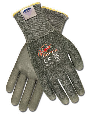 Memphis Medium Ninja Force 13 Gauge Gray Polyurethane Dipped Palm And Finger Coated Work Gloves With Gray Dyneema And Fiberglass Liner