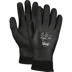 Memphis Large Ninja ICE Black HPT Foam Sponge Palm And Fingertip Coated Work Glove With Black 7 Gauge Acrylic Terry And 15 Gauge Nylon Double Liner