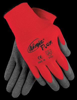 Memphis Medium Ninja Flex 15 Gauge Gray Crinkle Latex Coated Work Gloves With Red 100% Nylon Liner