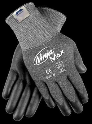 Memphis Small Ninja Max 10 Gauge Black Polyurethane And Nitrile Dipped Palm And Finger Coated Work Gloves With Dark Gray Dyneema And Lycra Liner
