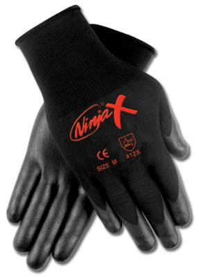 Memphis Medium Ninja X 15 Gauge Black Polyurethane And Nitrile Dipped Palm And Finger Coated Work Gloves With Black Nylon And Lycr Liner