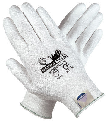 Memphis Medium UltraTech 13 Gauge Cut Resistant White Polyurethane Palm And Finger Coated Work Gloves With White Seamless Knit Dyneema Liner
