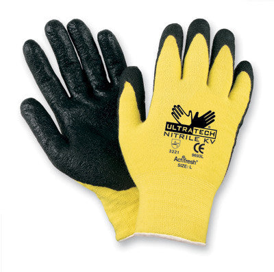 Memphis Large UltraTech 13 Gauge Cut Resistant Black Foam Nitrile Coated Work Gloves With Yellow Seamless Knit Kevlar Stainless Steel And Nylon Liner