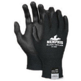 Memphis Gloves Medium Black Kevlar 13 Gauge Cut Resistant Black Nitrile Foam Dipped Palm And Fingertip Coated Work Gloves With Black Seamless Synthetic Knit Kevlar Liner