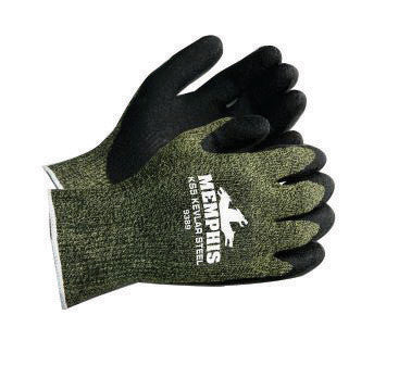 Memphis Large KS-5 13 Gauge Cut Resistant Black Latex Dipped Palm And Finger Coated Work Gloves With Green Kevlar Stainless Steel And Nylon Liner