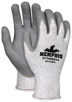 Memphis Gloves Large Dyneema 13 Gauge Cut Resistant Gray Nitrile And Foam Palm And Fingertip Coated Work Gloves With White And Gray Dyneema Liner