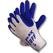 Memphis X-Large FlexTuff 10 Gauge Cut Resistant Blue Natural Rubber Latex Dipped Palm And Fingertip Coated Work Gloves With White Seamless Knit Cotton And Polyester Liner