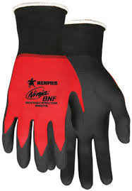Memphis Gloves Large Ninja BNF 18 Gauge Black Breathable Nitrile Foam Palm And Fingertip Coated Work Gloves With Red Seamless Knit Nylon And Spandex Liner