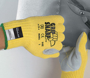 Memphis Medium Yellow Grip Sharp 7 Gauge Kevlar Cut Resistant Gloves With Knit Wrists, Cotton Lining And Leather Palms