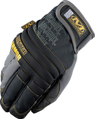 Mechanix Wear Large Black And Gray Winter Armor Nylon Fleece Lined Cold Weather Gloves With Double Reinforced Thumb, Hook And Loop Cuff And Rubberized Palm