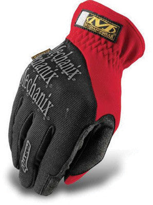 Mechanix Wear Medium Red And Black FastFit Full Finger Synthetic Leather And Spandex Mechanics Gloves With Elastic Cuff, Synthetic Leather Palm And Spandex Padded Back