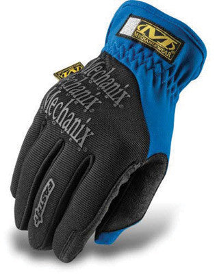 Mechanix Wear Medium Blue And Black FastFit Full Finger Synthetic Leather And Spandex Mechanics Gloves With Elastic Cuff, Synthetic Leather Palm And Spandex Padded Back