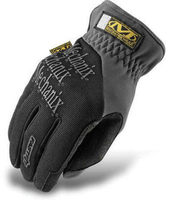 Mechanix Wear Medium Black And Gray FastFit Full Finger Synthetic Leather And Spandex Mechanics Gloves With Elastic Cuff, Synthetic Leather Palm And Spandex Padded Back