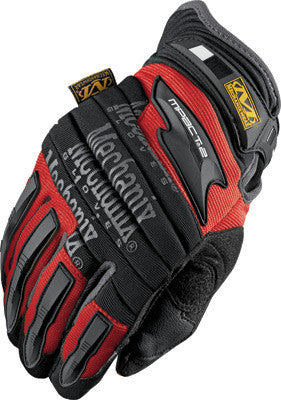 Mechanix Wear 2X Red And Black M-Pact 2 Full Finger Synthetic Leather And Rubber Anti-Vibration Gloves With Neoprene Cuff, EVA Foam Padded Impact Zones, And Rubberized Panels On Thumb, Fingertips And Palm