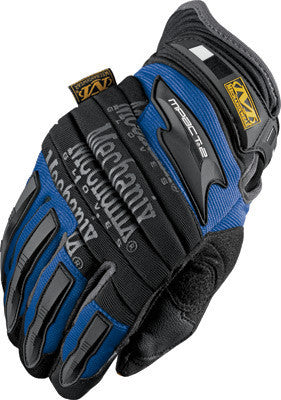 Mechanix Wear 2X Blue And Black M-Pact 2 Full Finger Synthetic Leather And Rubber Anti-Vibration Gloves With Neoprene Cuff, EVA Foam Padded Impact Zones, And Rubberized Panels On Thumb, Fingertips And Palm
