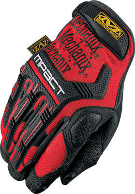 Mechanix Wear Large Red And Black M-Pact Full Finger Spandex And Rubber Anti-Vibration Gloves  With Hook & Loop Cuff Poron SRD Foam Palm And Rubberized Grip On Thumb, Index Finger And Palm