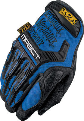 Mechanix Wear Small Blue And Black M-Pact Full Finger Spandex And Rubber Anti-Vibration Gloves With Hook & Loop Cuff, Poron XRD Foam Palm And Rubberized Grip On Thumb, Index Finger And Palm