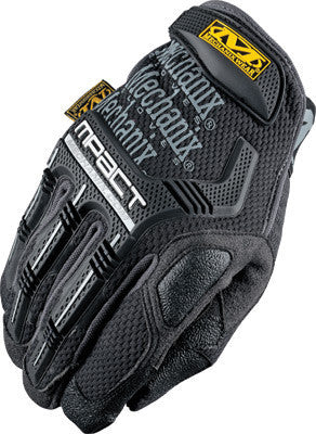 Mechanix Wear 2X Black M-Pact Full Finger Spandex And Rubber Anti-Vibration Gloves  With Hook & Loop Cuff Poron SRD Foam Palm And Rubberized Grip On Thumb, Index Finger And Palm