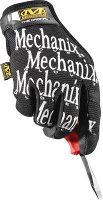 Mechanix Wear Large Black Original Full Finger Synthetic Leather, Spandex And Rubber Mechanics Gloves With Hook and Loop Cuff, Synthetic Leather Palm And Fingertips And Spandex Back