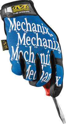 Mechanix Wear Medium Blue And Black Original Full Finger Synthetic Leather, Spandex And Rubber Mechanics Gloves With Hook and Loop Cuff, Synthetic Leather Palm And Fingertips And Spandex Back
