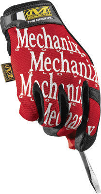 Mechanix Wear Large Red And Black Original Full Finger Synthetic Leather, Spandex And Rubber Mechanics Gloves With Hook and Loop Cuff, Synthetic Leather Palm And Fingertips And Spandex Back
