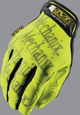 Mechanix Wear Large Hi-Viz Yellow The Safety Original Full Finger Synthetic Leather And Spandex Mechanics Gloves With Hook and Loop Cuff, Clarino Synthetic Leather Palm, And 3M Scotchlite Reflective Ink Graphic Pattern Print