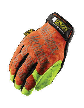 Mechanix Wear Medium Hi-Viz Orange And Hi-Viz Yellow The Safety Original Full Finger Synthetic Leather And Spandex Mechanics Gloves With Hook and Loop Cuff, Clarino Synthetic Leather Palm, And 3M Scotchlite Reflective Ink Graphic Pattern Print