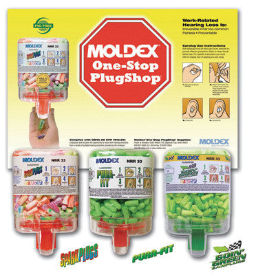Moldex One-Stop PlugShop Earplug Dispenser Starter Kit (Contains 3 Dispensers Of 250 Pair Pura-Fit, 250 Pair Going Green And 250 Pair SparkPlugs Earplugs