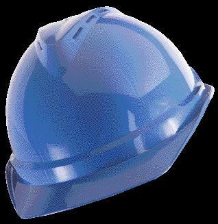 MSA Blue V-Gard 500 Class C Type I Polyethylene Vented Hard Cap With Fas-Trac 4 Point Suspension And Glaregard Underbrim