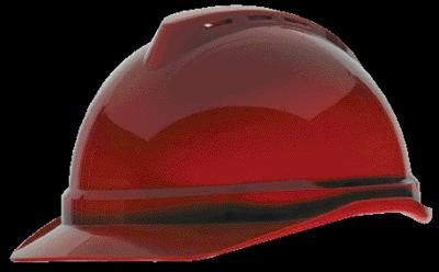 MSA Red V-Gard 500 Class C Type I Polyethylene Vented Hard Cap With Fas-Trac 4 Point Suspension And Glaregard Underbrim