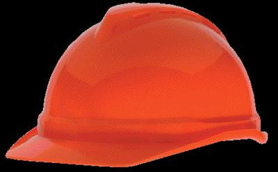 MSA Hi-Viz Orange V-Gard 500 Class C Type I Polyethylene Vented Hard Cap With Fas-Trac 4 Point Suspension And Glaregard Underbrim