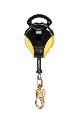 MSA 30' Workman Galvanized Cable Self-Retracting Lanyard With Swivel Snaphook And Load Indicator