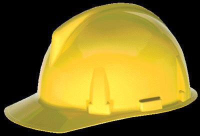 MSA Yellow TopGard Class E Type I Polycarbonate Slotted Hard Cap With 1-Touch Suspension