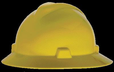MSA Yellow V-Gard Class E Type I Polyethylene Non-Slotted Hard Hat With Full Brim And Staz-On Suspension