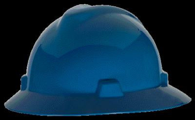 MSA Blue V-Gard Class E Type l Polyethylene Non-Slotted Hard Hat With Full Brim And Staz-On Suspension