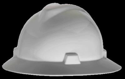 MSA White V-Gard Class E Type I Polyethylene Non-Slotted Hard Hat With Full Brim And Staz-On Suspension