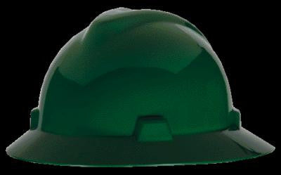 MSA Green V-Gard Class E Type I Polyethylene Non-Slotted Hard Hat With Full Brim And Staz-On Suspension